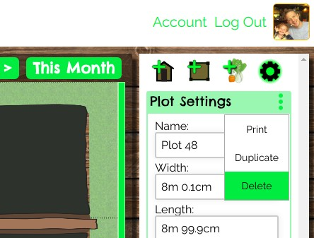how to delete an unwanted plot from vegplotter's free vegetable garden planning software