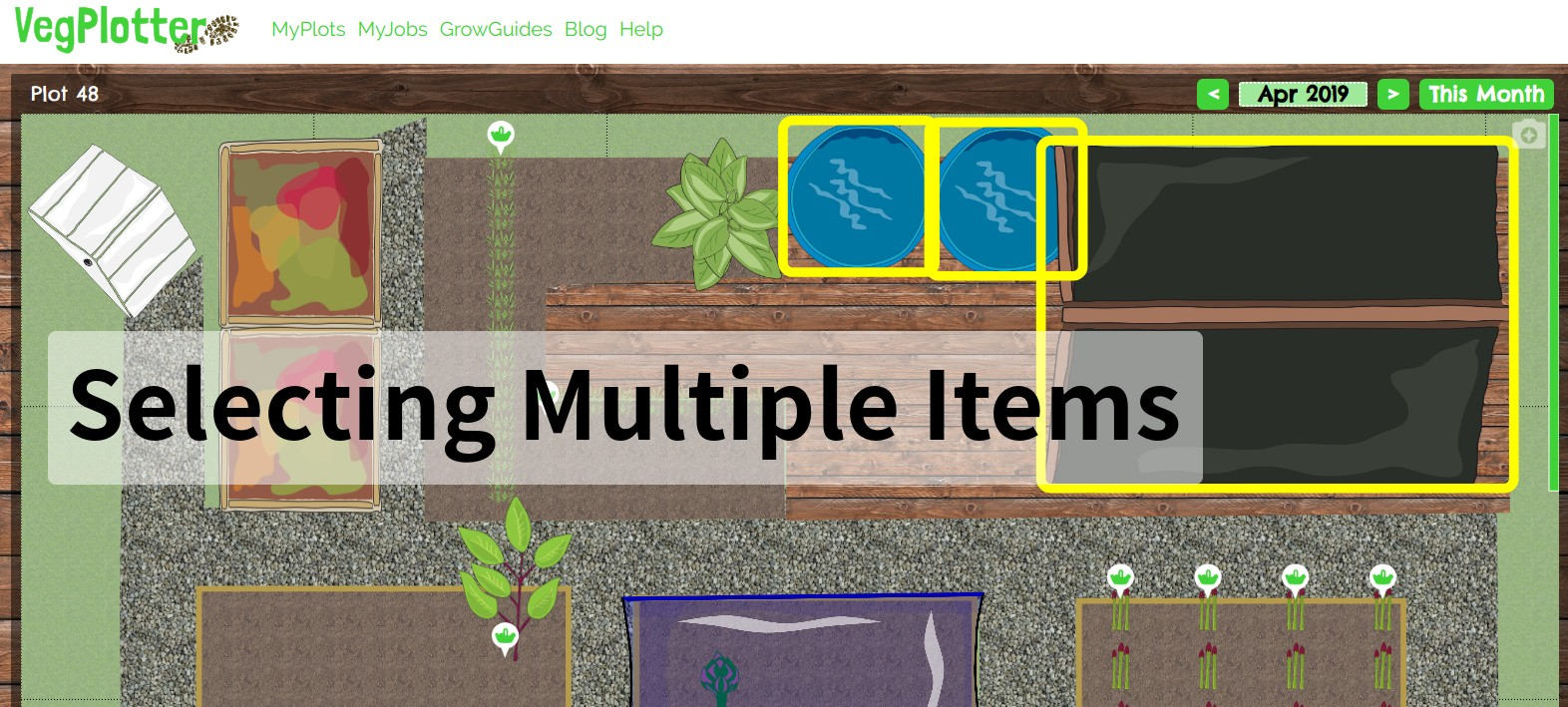How to select and move items as a group in VegPlotter's free vegetable garden planner