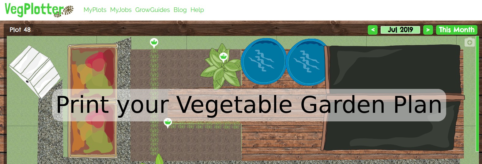This how to guide talks through how to print your VegPlotter vegetable garden plan.