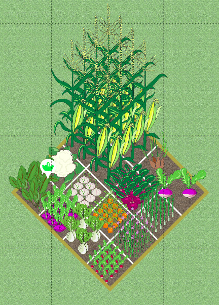 Screenshot of a typical 4 by 4 foot square foot gardening vegetable bed taken from VegPlotter's free online garden planner